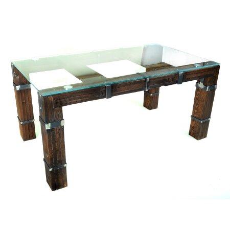 Esstisch Wohnzimmertisch DROHOBYCZ Loft Vintage Bar IndustrieDesign  Handmade 200x80 cm Holz Metall Glas