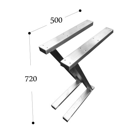 Z-Tischgestell 500 mm 60x30 (h=720 mm)