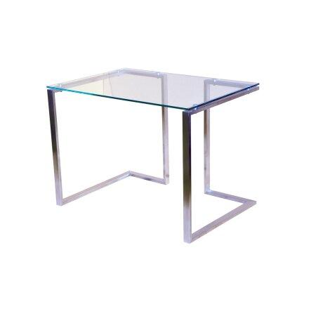 Bürotisch Computertisch Beistelltisch Edelstahl Schminktisch Moderne Design Glas Schreibtisch (120 x 60 cm)