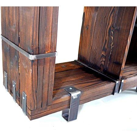 Kommode Schrank Sideboard BORYSLAW Massivholz TV Board Loft Vintage Bar Industrie Design Handmade Holz Glas Metall (120 x 130 cm)