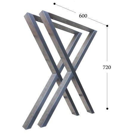 X-Tischgestell 600 mm 60x30 (h=720 mm)