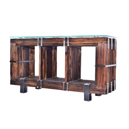 Kommode Schrank Sideboard BORYSLAW Massivholz TV Board Loft Vintage Bar Industrie Design Handmade Holz Glas Metall (120 x 70 cm)
