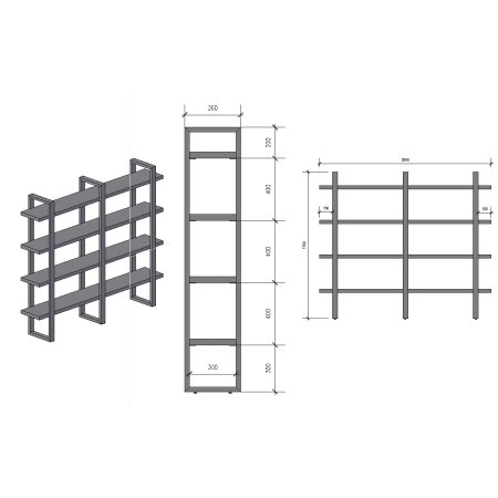 Regalsystem 1700 mm 3 (360 - 60x30) +Holz